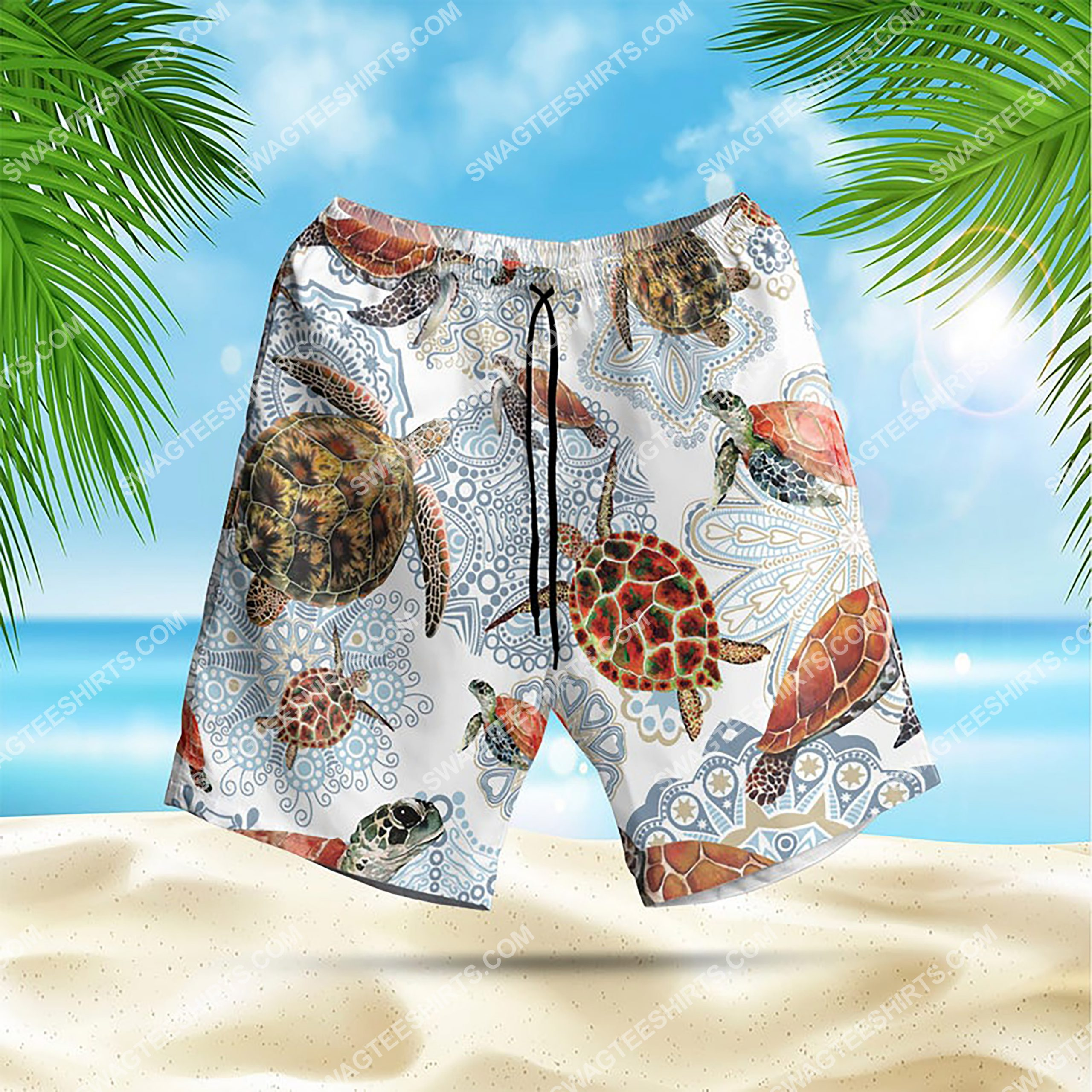 turtle mandala summer vacation all over print hawaiian shorts 1