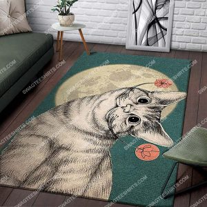 vintage the moon cat and flower full printing rug 3 - Copy (2)