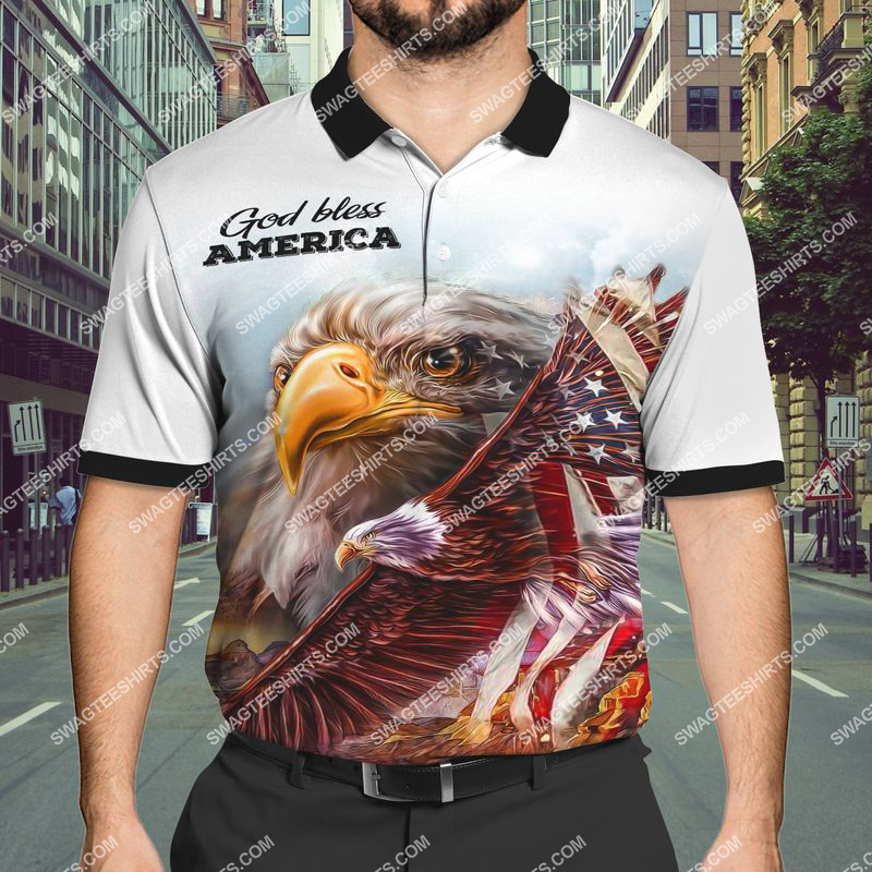 God bless america happy independence day full print polo shirt 1