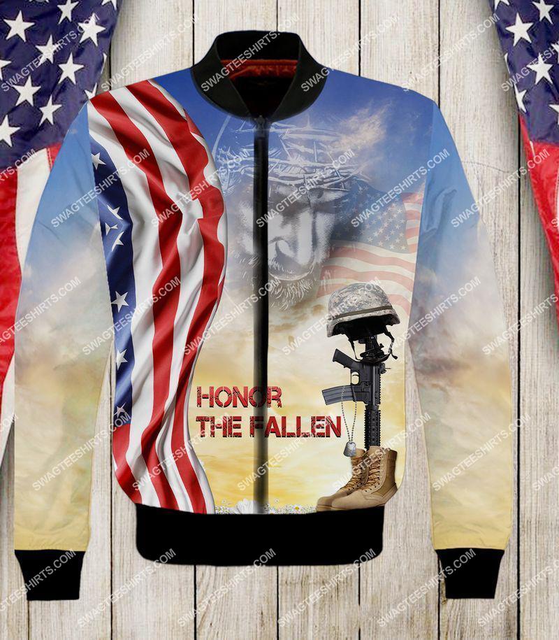 God honor the fallen veterans day full print bomber(1)