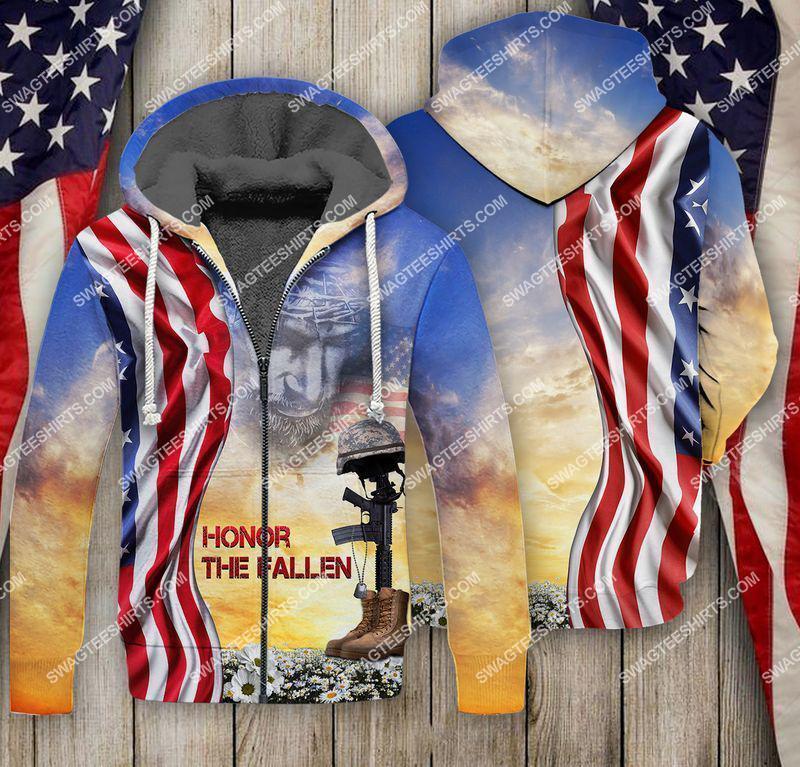 God honor the fallen veterans day full print fleece hoodie(1)