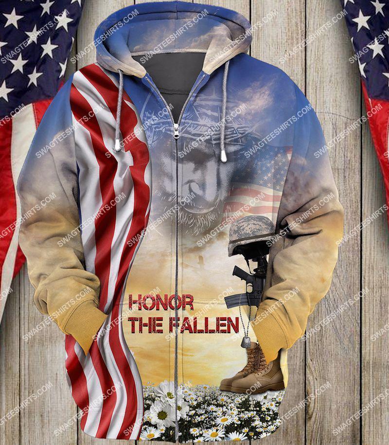 God honor the fallen veterans day full print zip hoodie 1