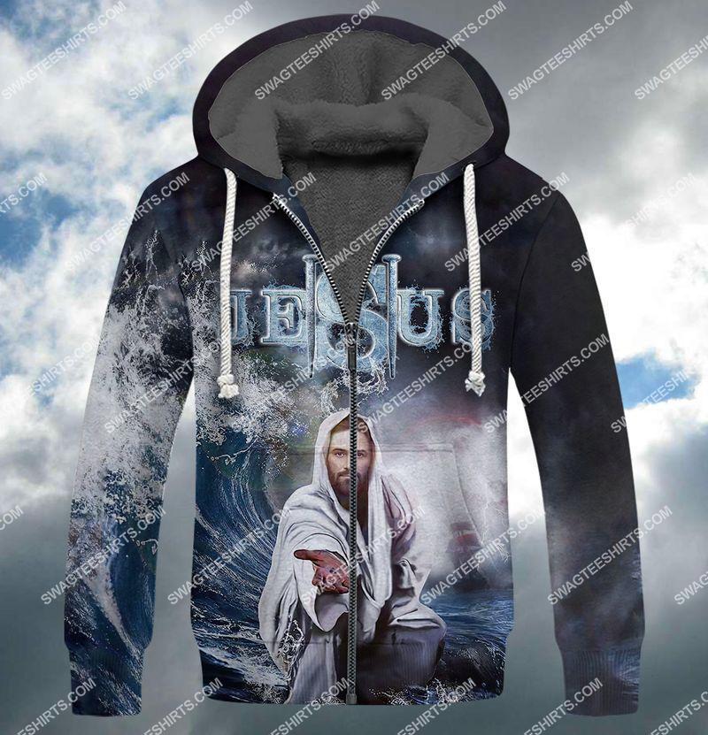 Jesus reaching into water full print fleece hoodie 1
