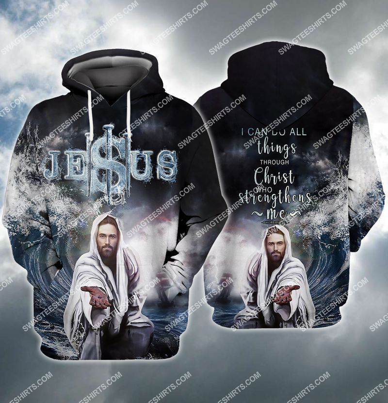 Jesus reaching into water full print hoodie 1