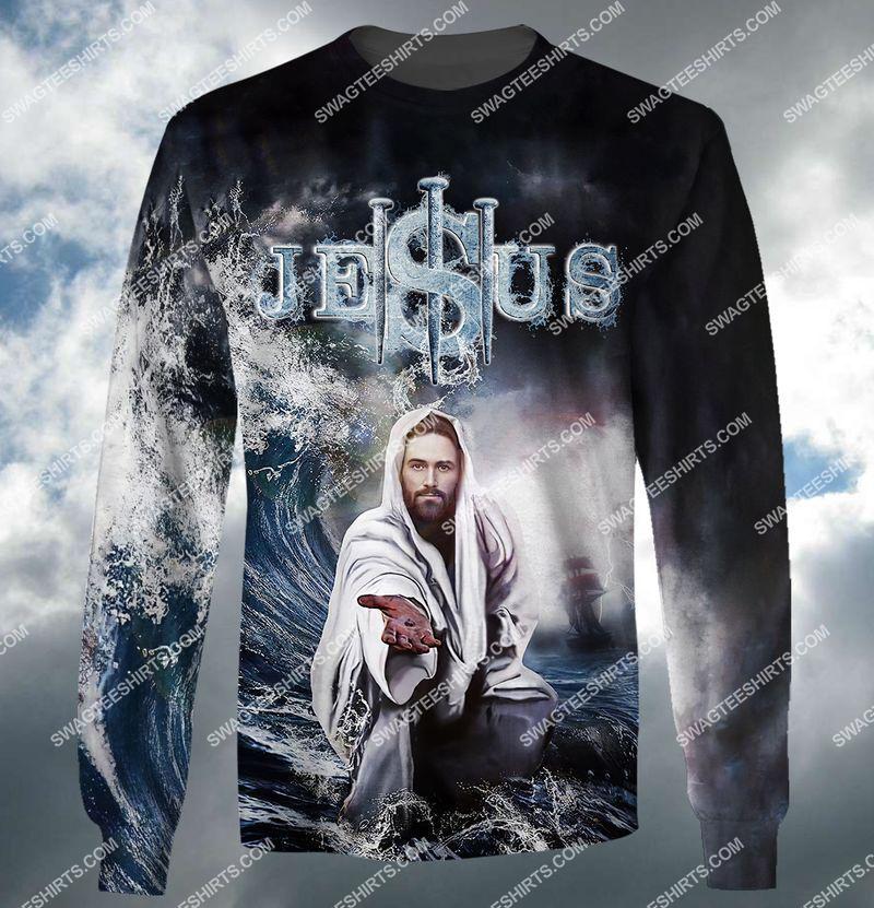 Jesus reaching into water full print sweatshirt 1