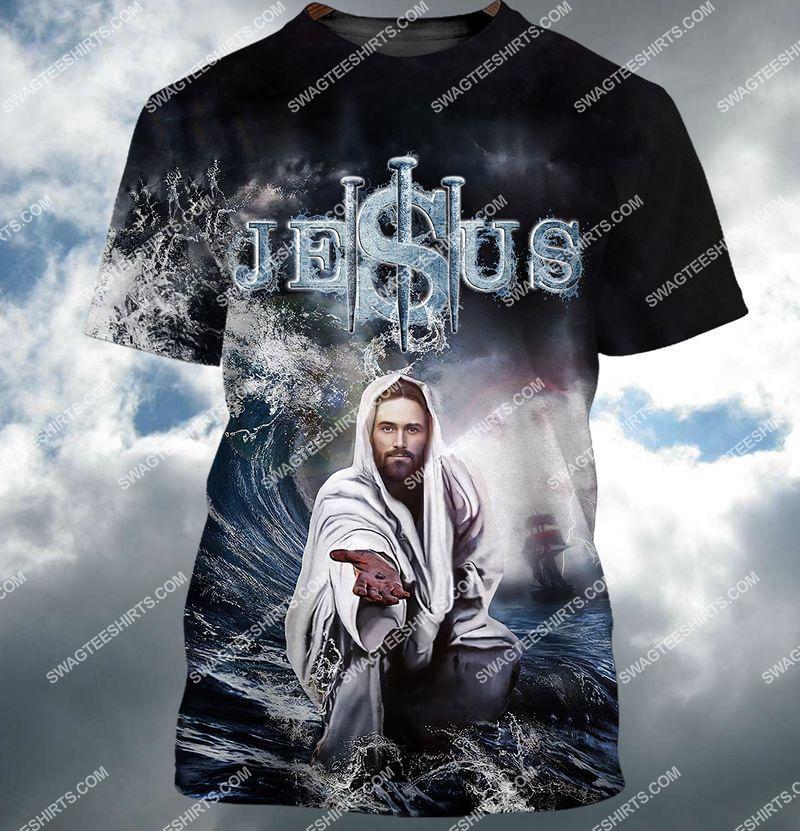 Jesus reaching into water full print tshirt 1