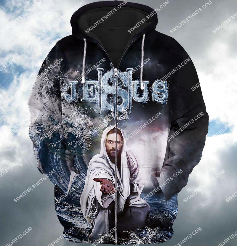 Jesus reaching into water full print zip hoodie 1