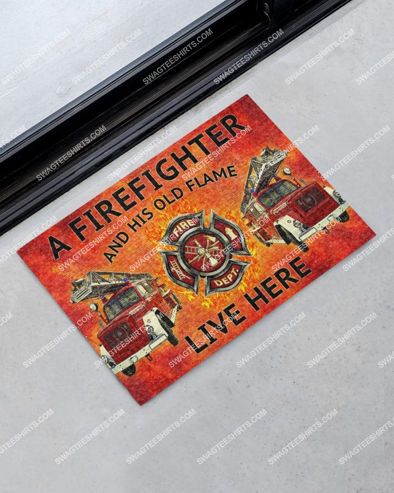 a firefighter and his old flame live here full print doormat 1