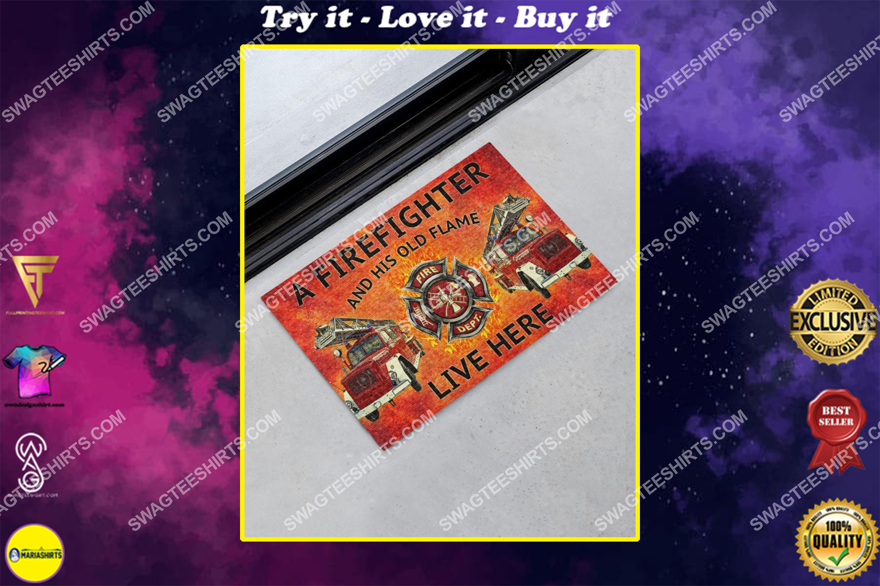 a firefighter and his old flame live here full print doormat
