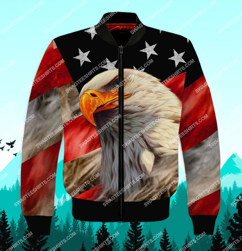 bald eagle american flag happy independence day full print bomber 1