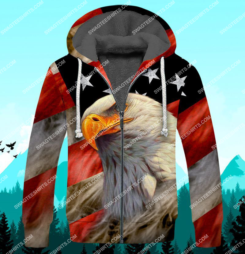bald eagle american flag happy independence day full print fleece hoodie 1