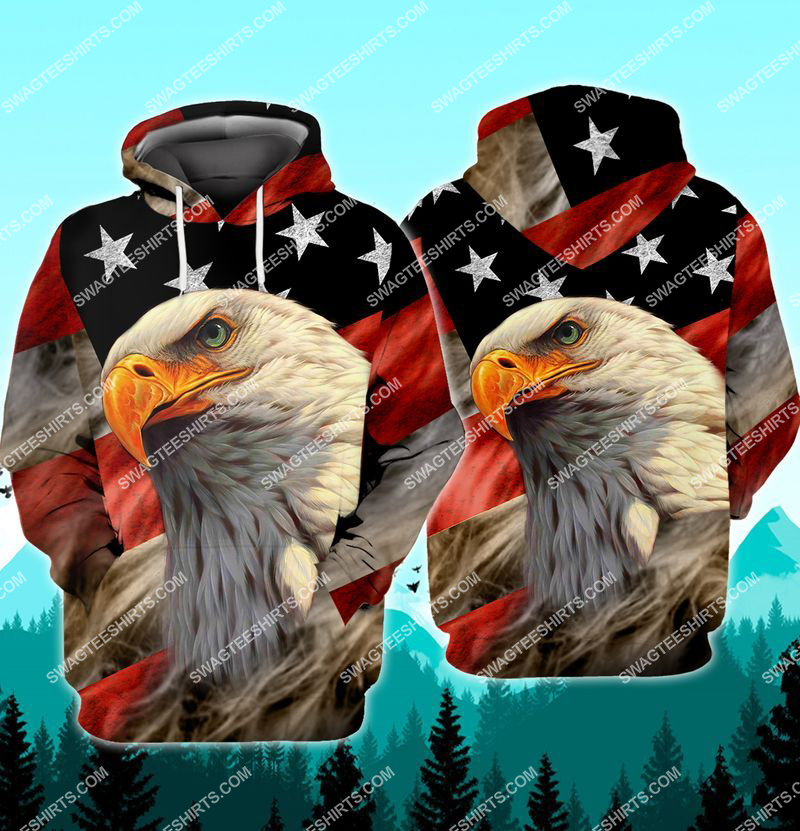 bald eagle american flag happy independence day full print hoodie 1