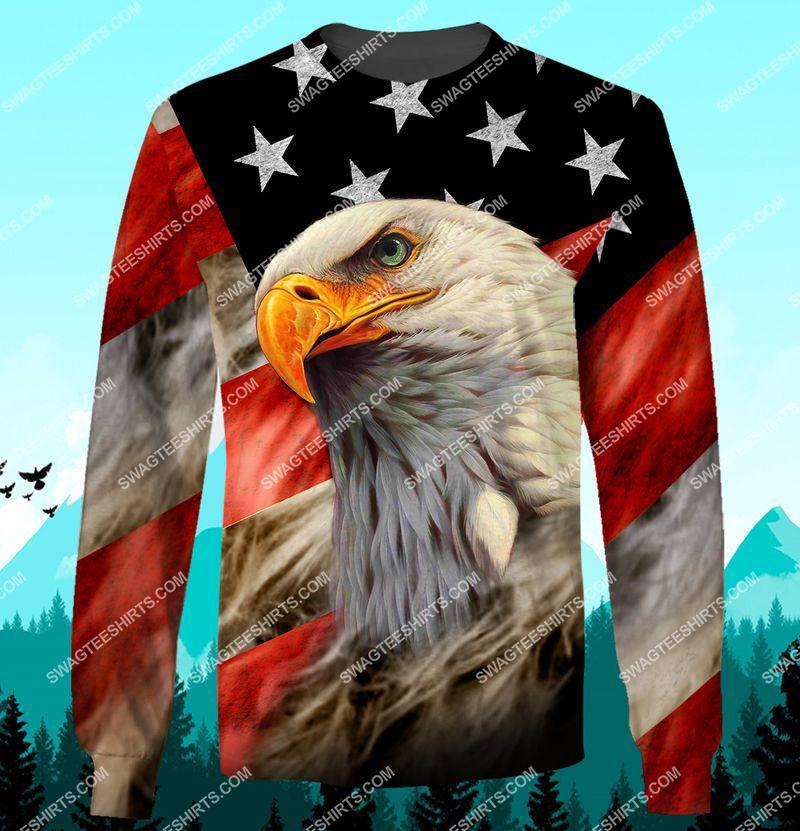 bald eagle american flag happy independence day full print sweatshirt 1