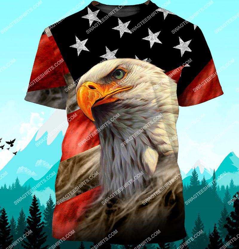 bald eagle american flag happy independence day full print tshirt 1