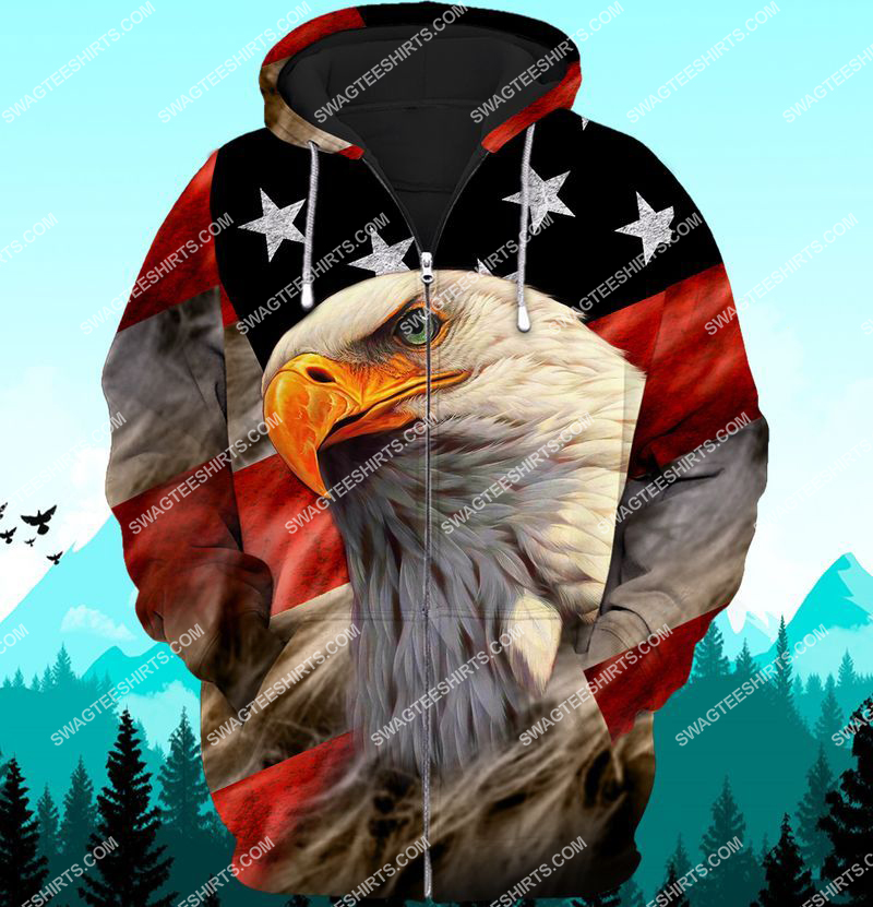 bald eagle american flag happy independence day full print zip hoodie 1