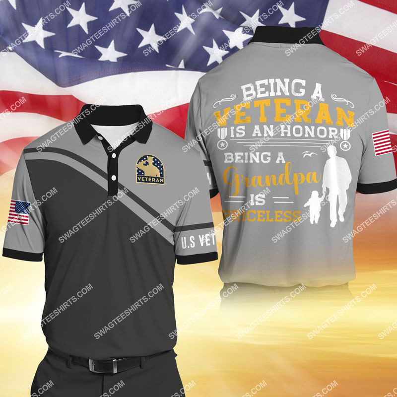being a veteran is an honor being a grandpa is priceless full print polo shirt 1