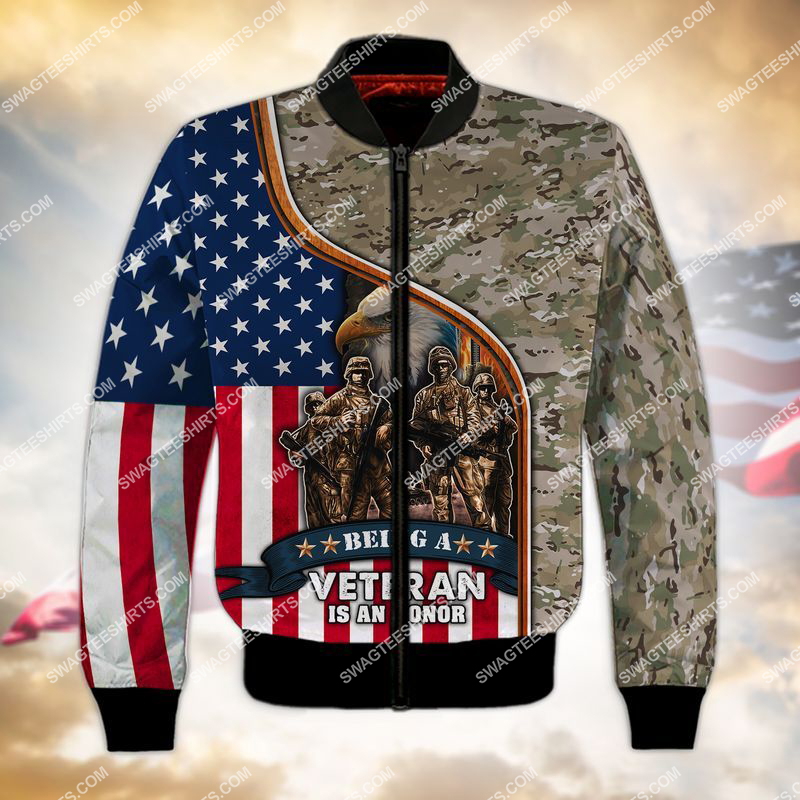 being a veteran is an honor veterans day full print bomber 1