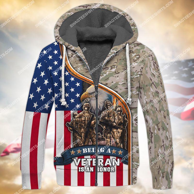 being a veteran is an honor veterans day full print fleece hoodie 1