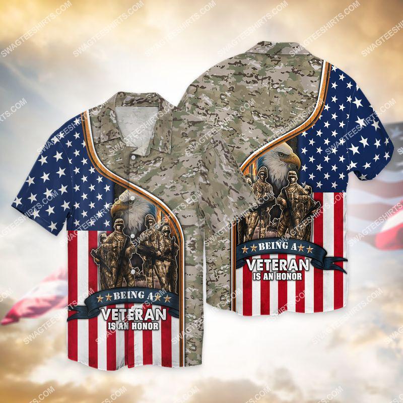 being a veteran is an honor veterans day full print hawaiian shirt 1