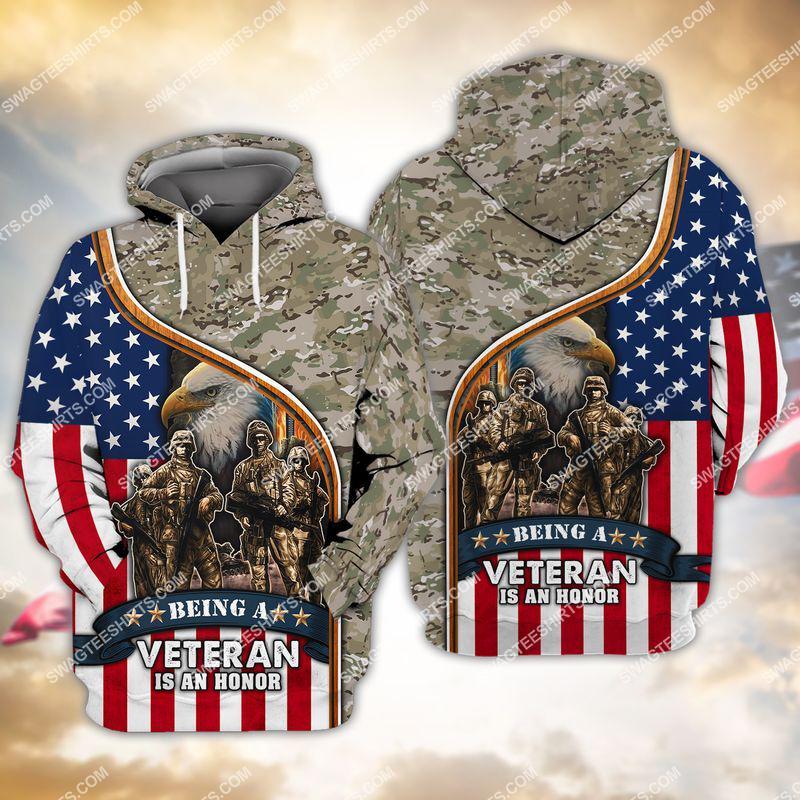 being a veteran is an honor veterans day full print hoodie 1