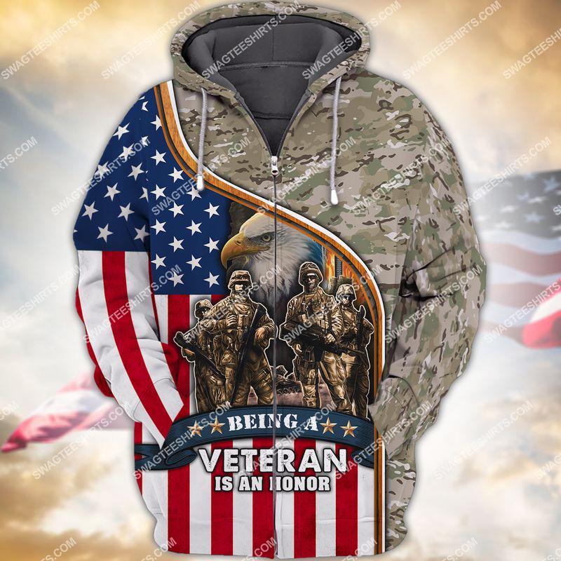 being a veteran is an honor veterans day full print zip hoodie 1