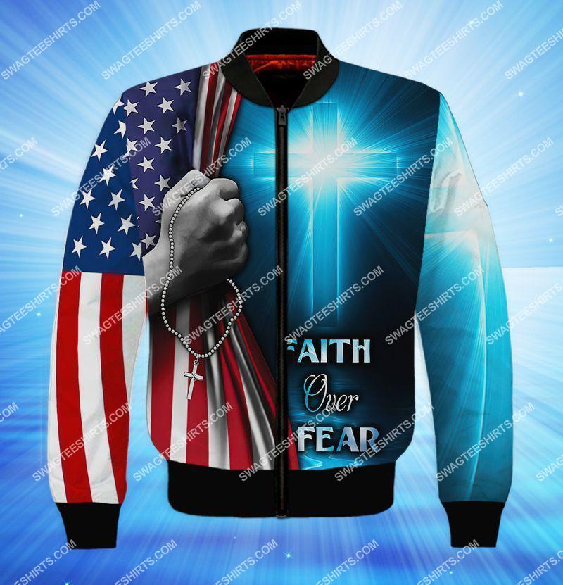believe in God faith over fear full print bomber 1
