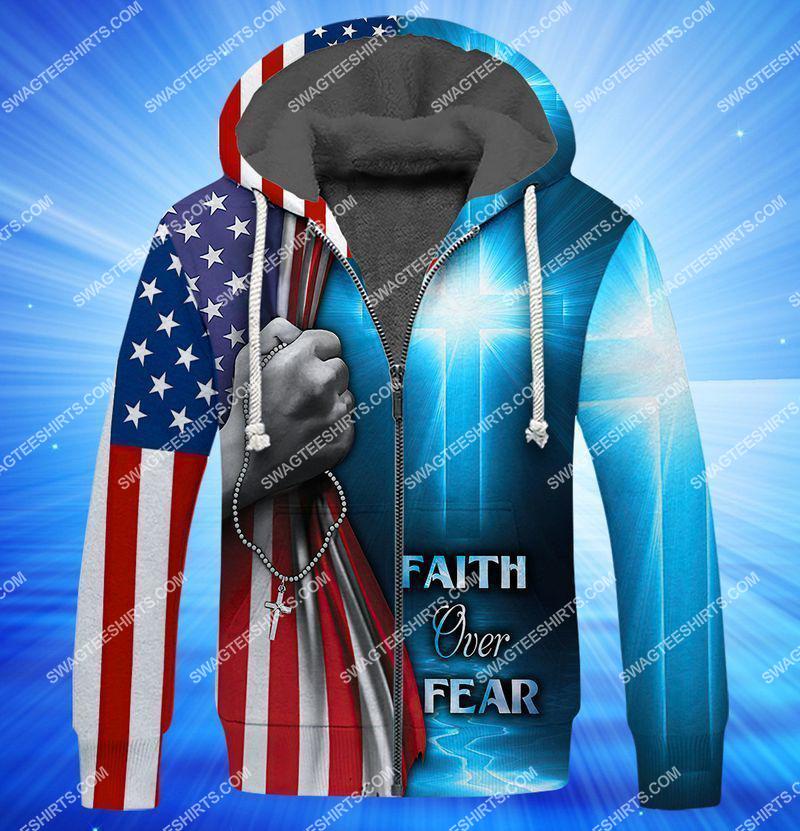believe in God faith over fear full print fleece hoodie 1