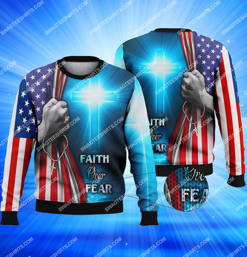 believe in God faith over fear full print sweatshirt 1