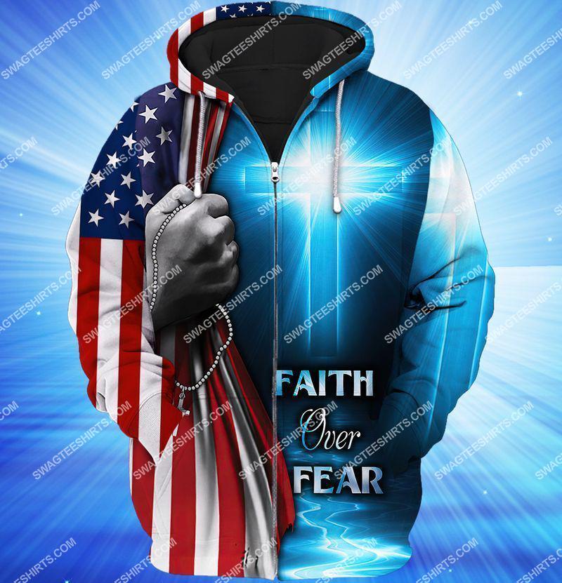 believe in God faith over fear full print zip hoodie 1