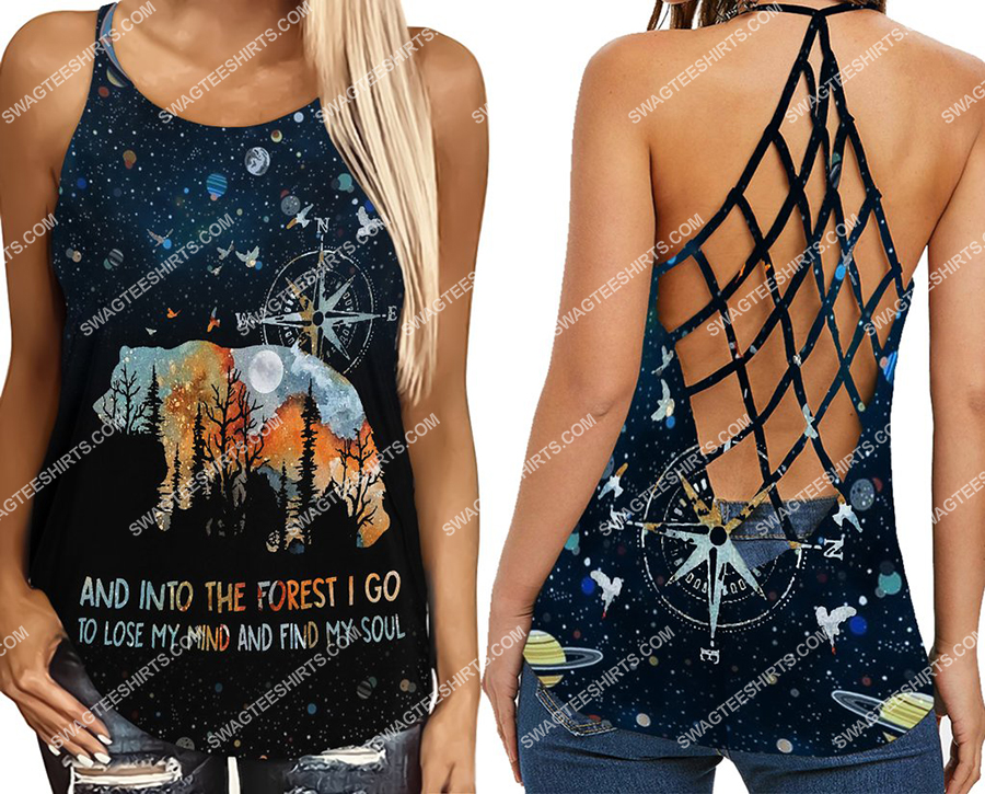 camping bear into the forest full print criss-cross tank top 2(1)