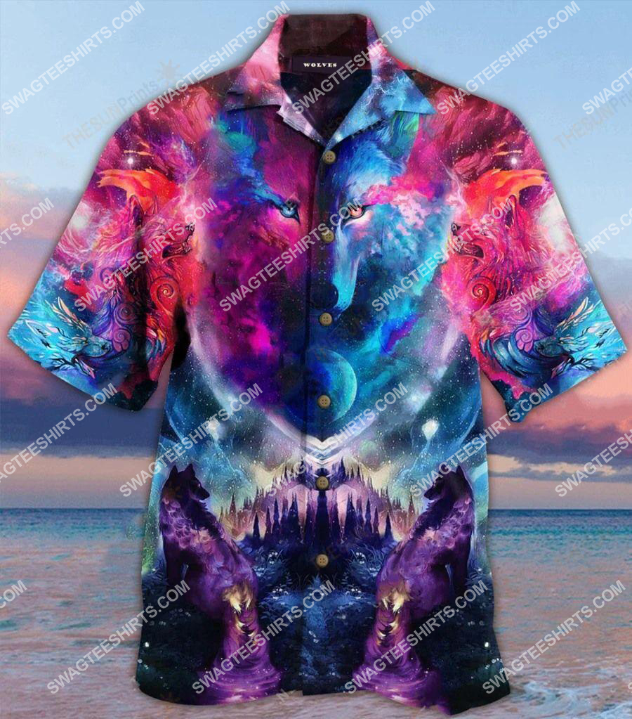 colorful galaxy wolf all over printed hawaiian shirt 1(1)