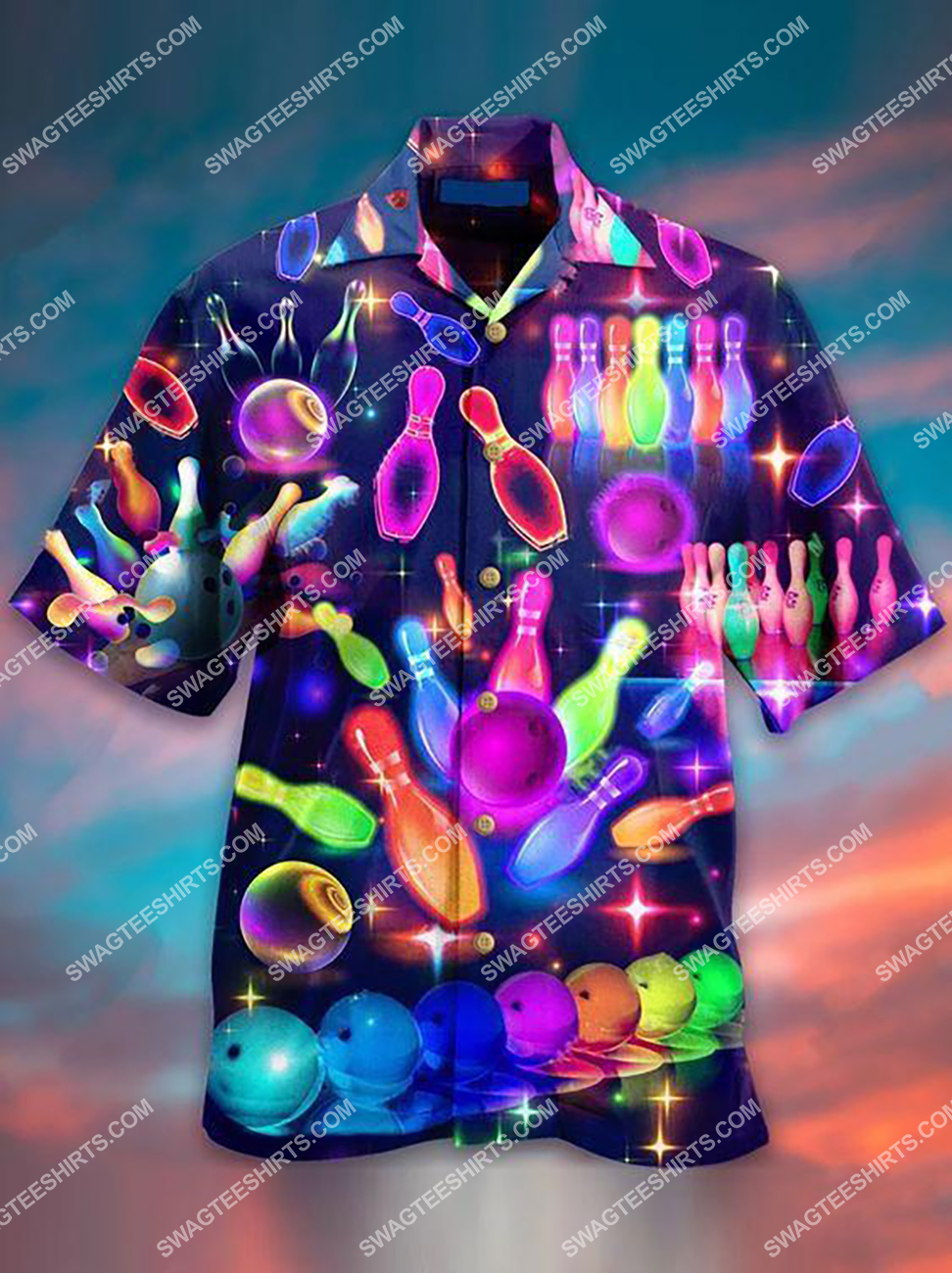 colorful hippie bowling all over printed hawaiian shirt 1(1)