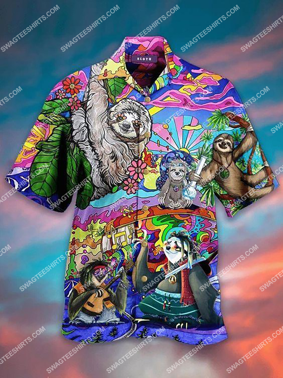 colorful hippie sloth lovers all over printed hawaiian shirt 1(1)
