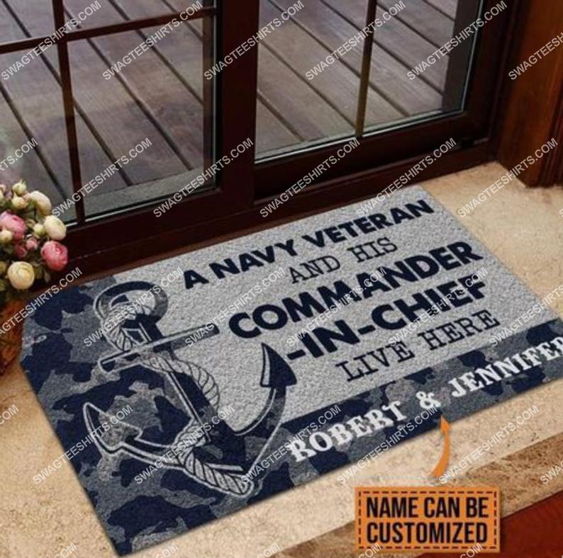 custom name a navy veteran and his commander in chief live here full print doormat 2(1) - Copy