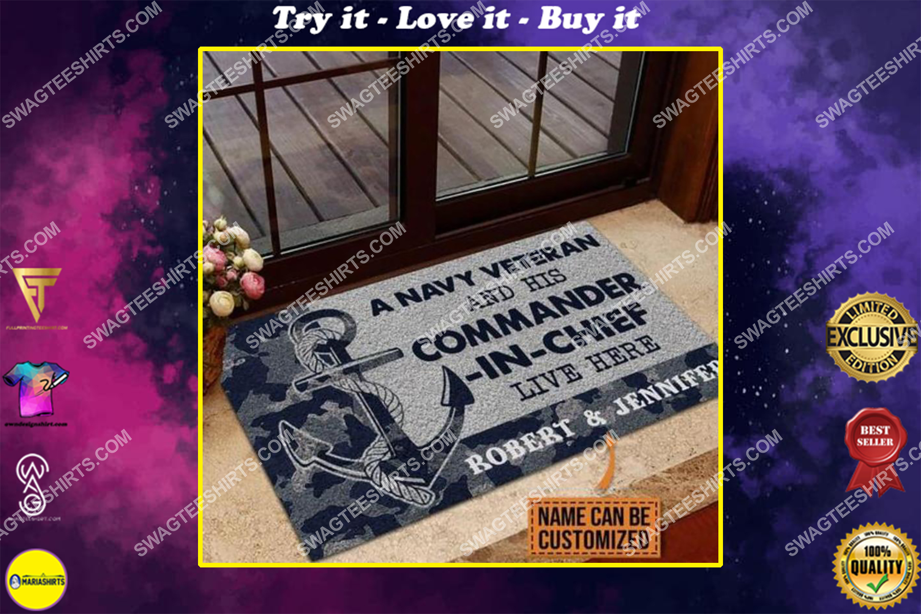 custom name a navy veteran and his commander in chief live here full print doormat