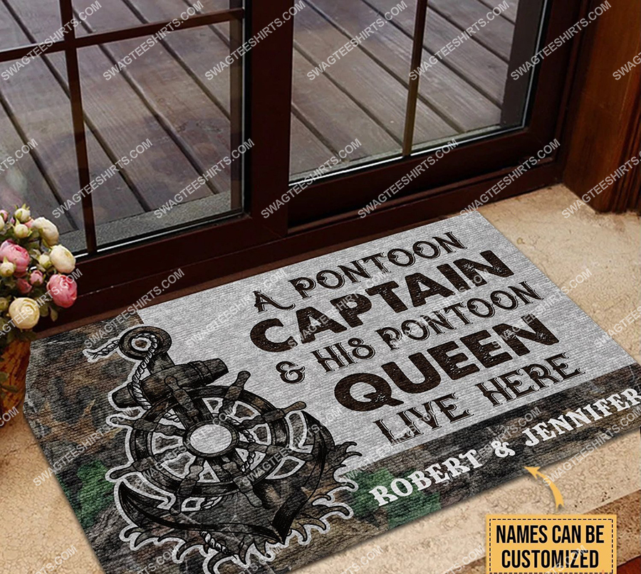 custom name a pontoon captain and his pontoon queen live here full print doormat 2(1) - Copy