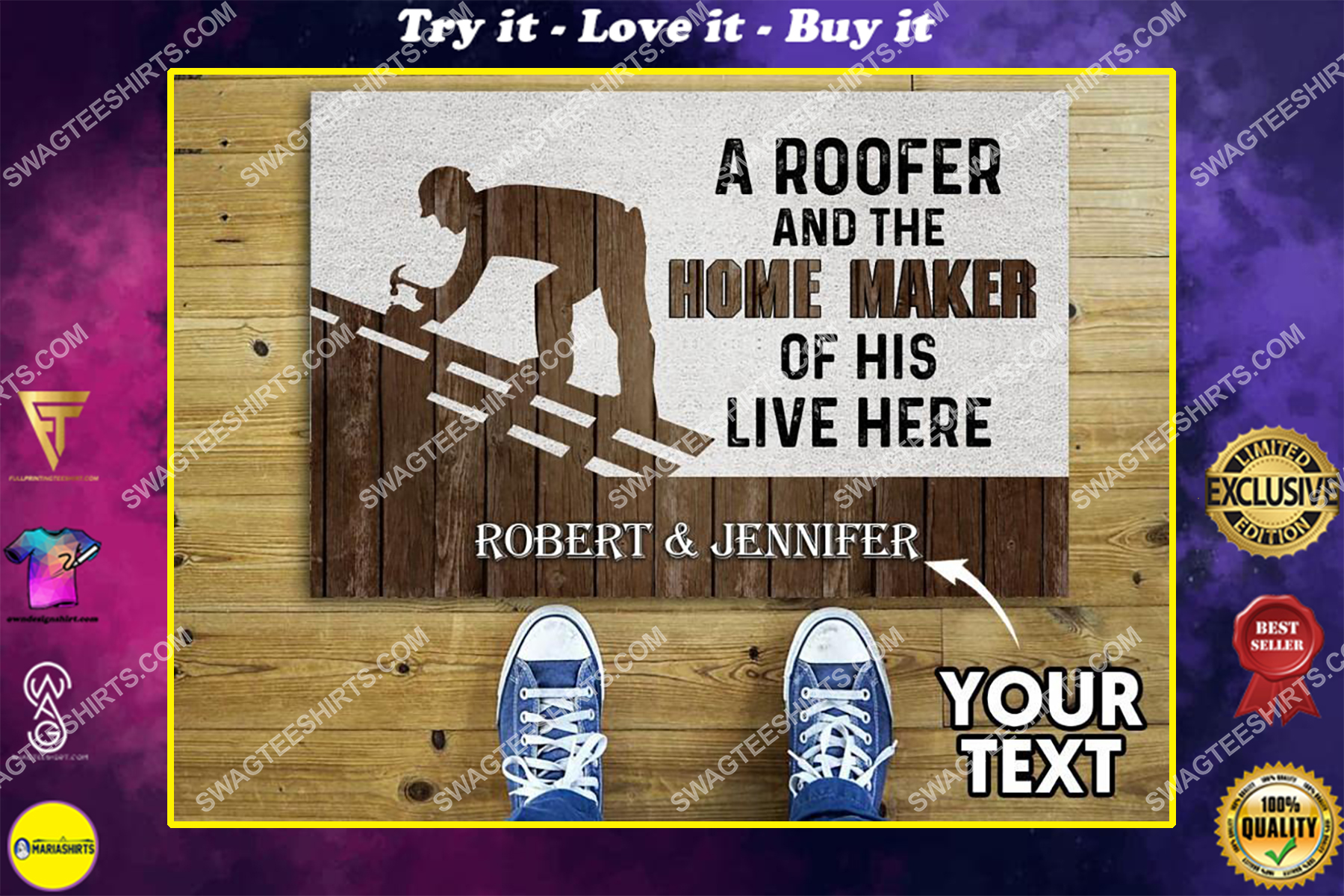 custom name a roofer and the home maker of his live here full print doormat