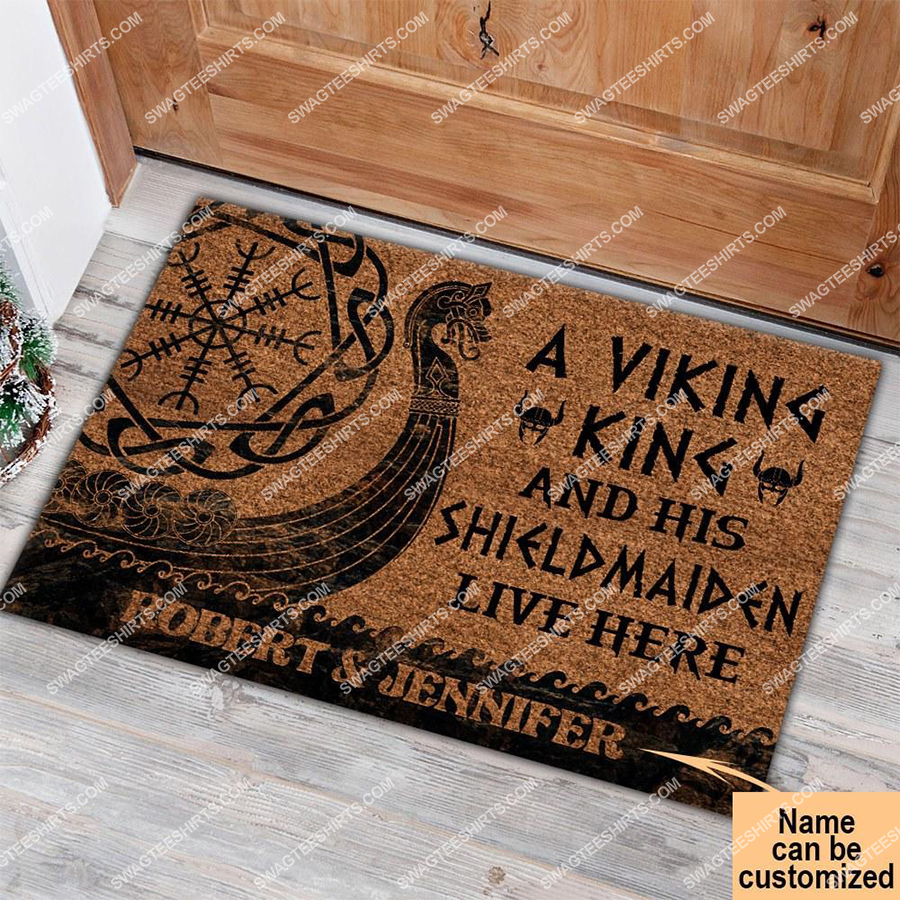 custom name a viking and his shieldmaiden live here full print doormat 2(1) - Copy