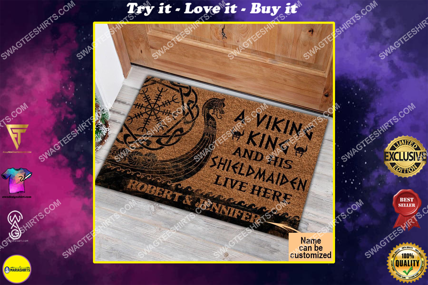 custom name a viking and his shieldmaiden live here full print doormat
