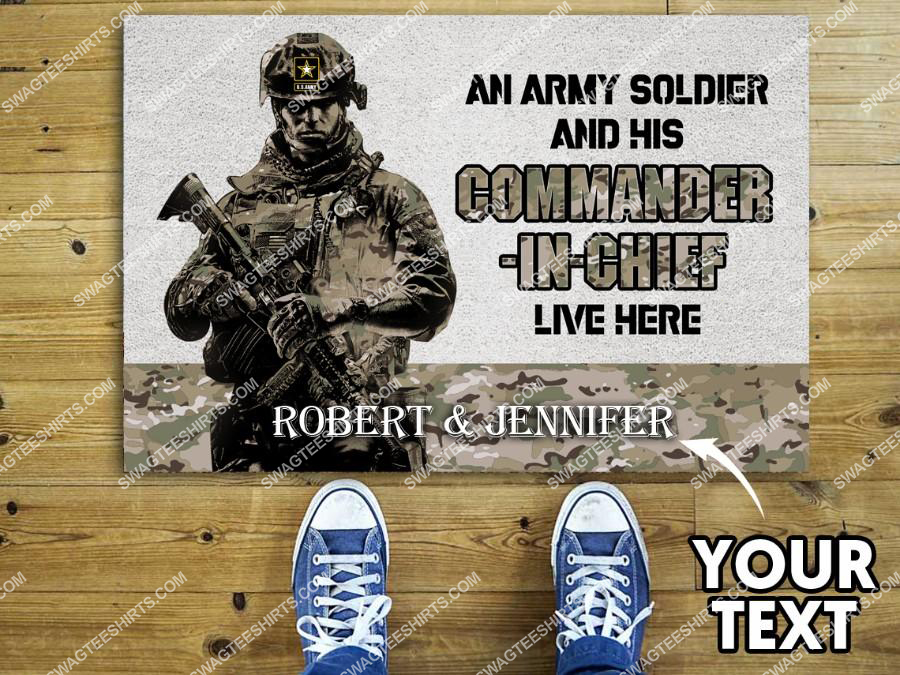 custom name an army soldier and his commander in chief live here doormat 2(1)