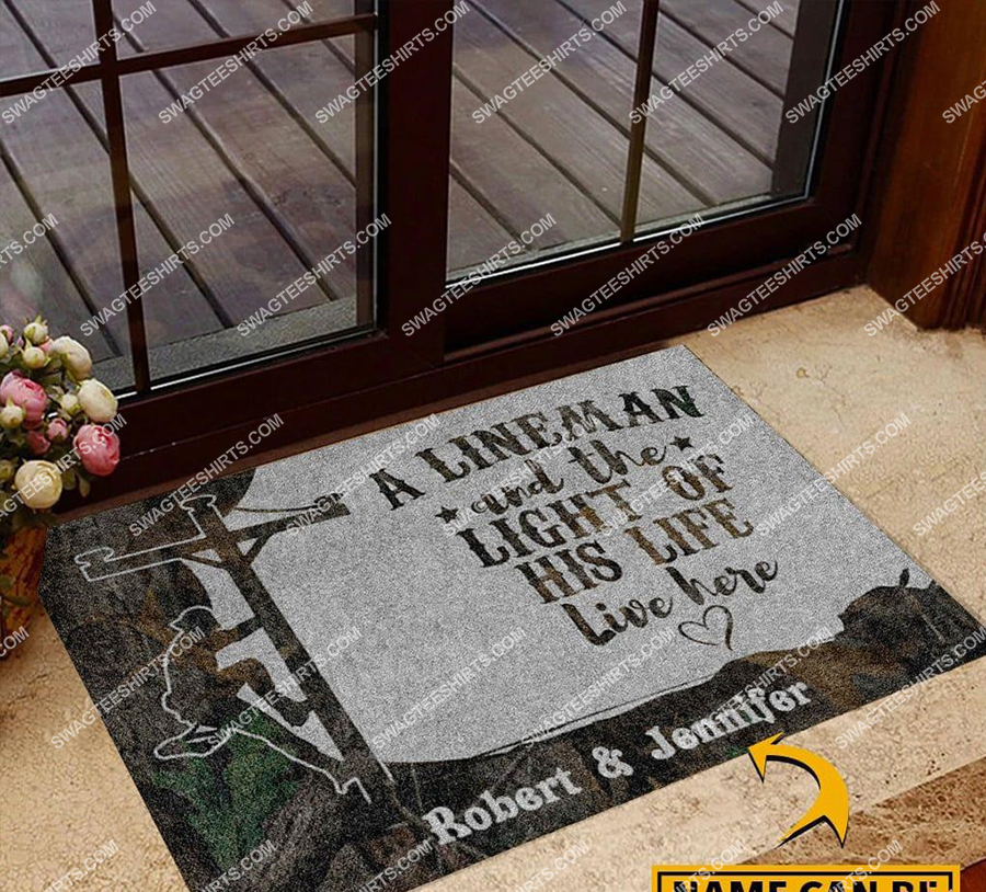 custom name an linemen and the light of his life live here doormat 2(1) - Copy