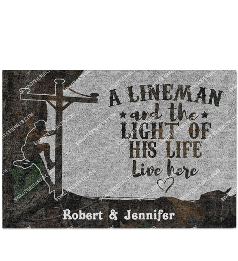custom name an linemen and the light of his life live here doormat 3(1)