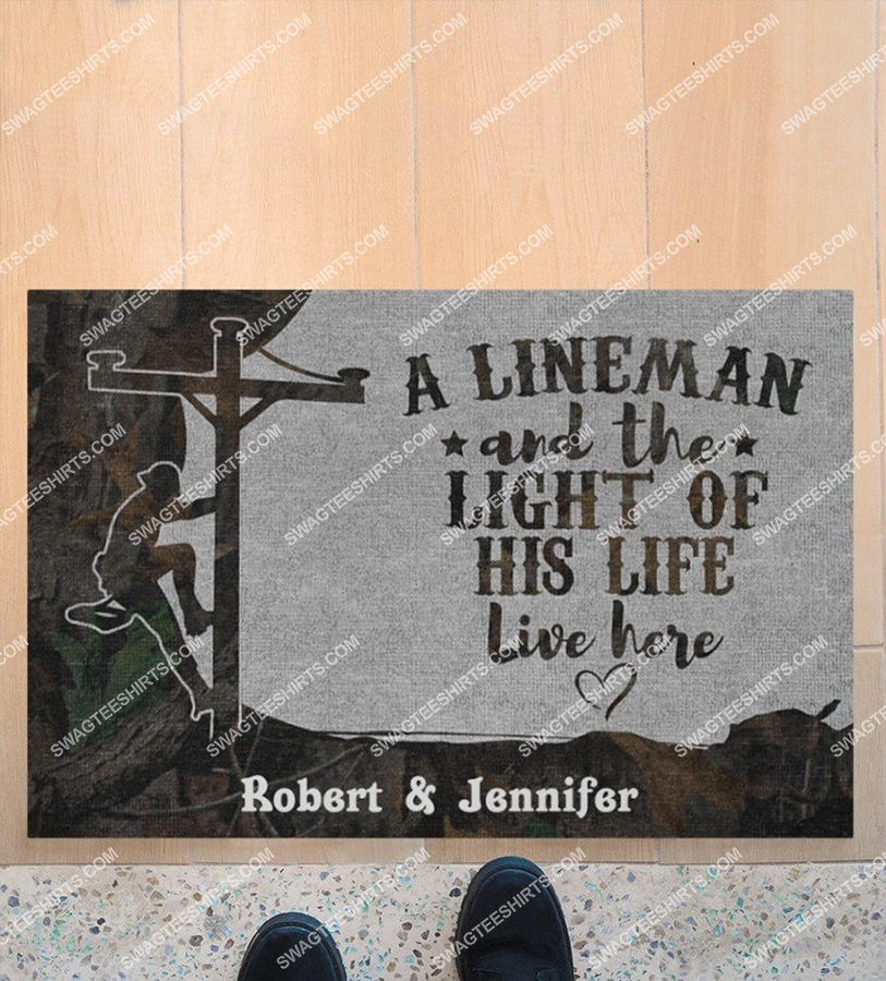 custom name an linemen and the light of his life live here doormat 4(1)