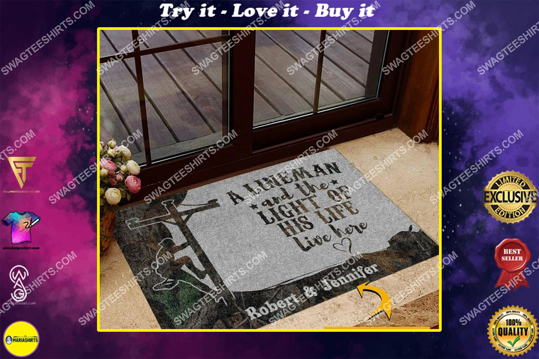 custom name an linemen and the light of his life live here doormat