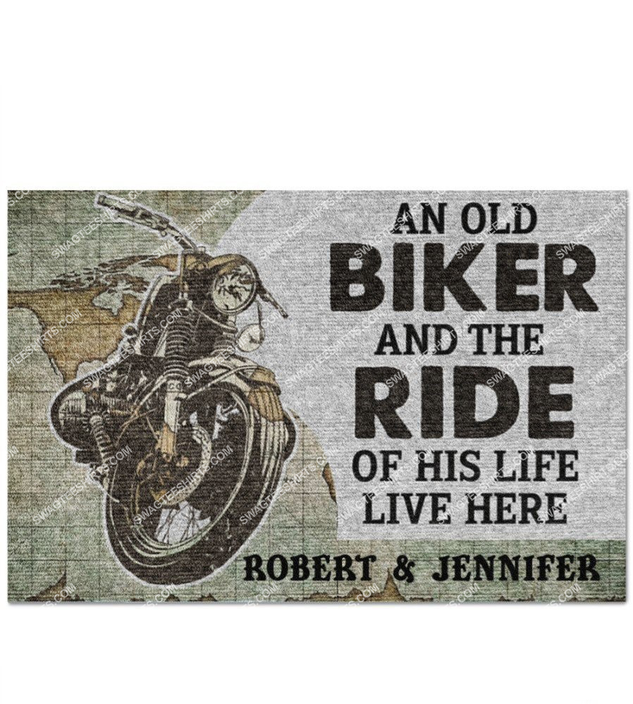 custom name an old biker and the ride of his life live here doormat 2(1)