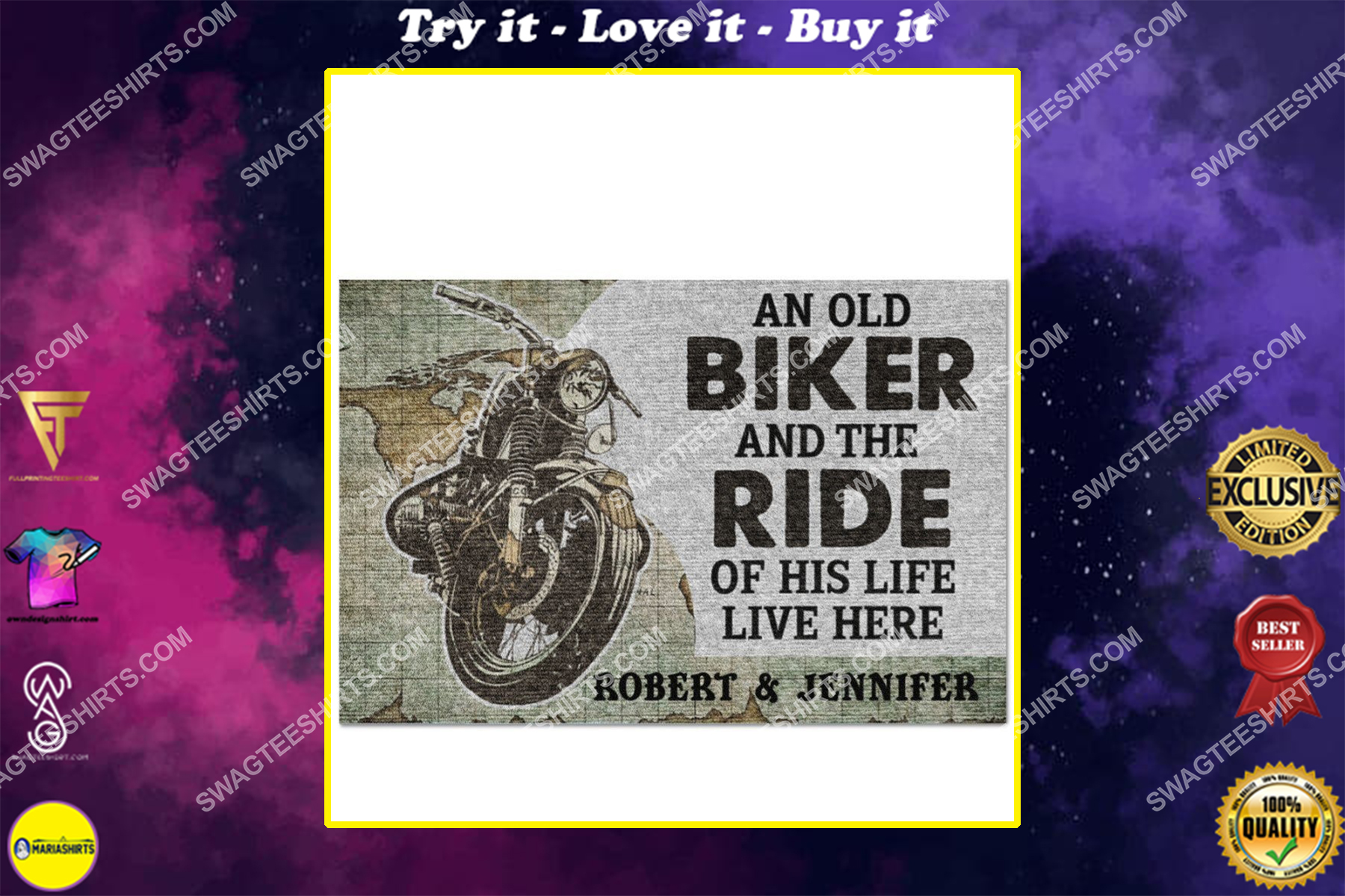 custom name an old biker and the ride of his life live here doormat
