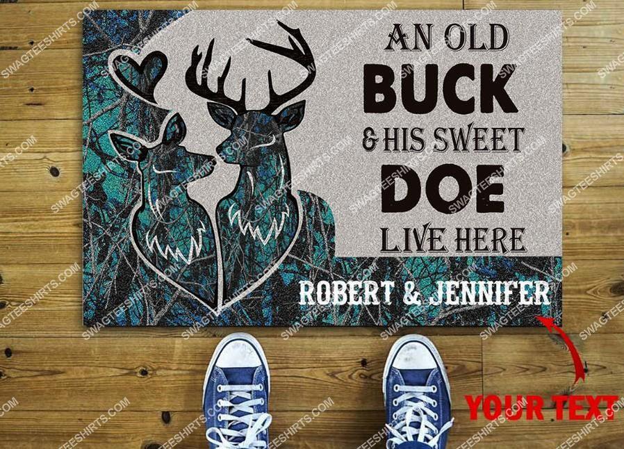custom name deer camo an old buck and his sweet doe live here full print doormat 2(1)