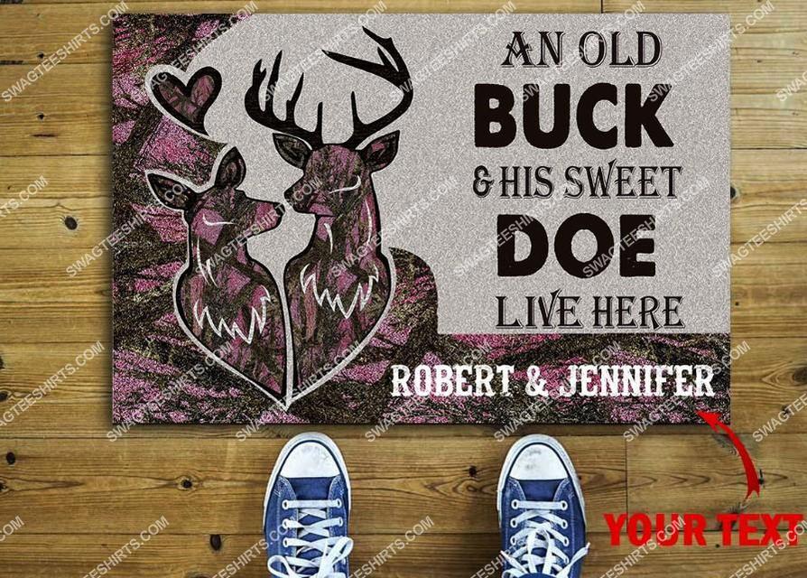 custom name deer hunter an old buck and his sweet doe live here full print doormat 2(1)