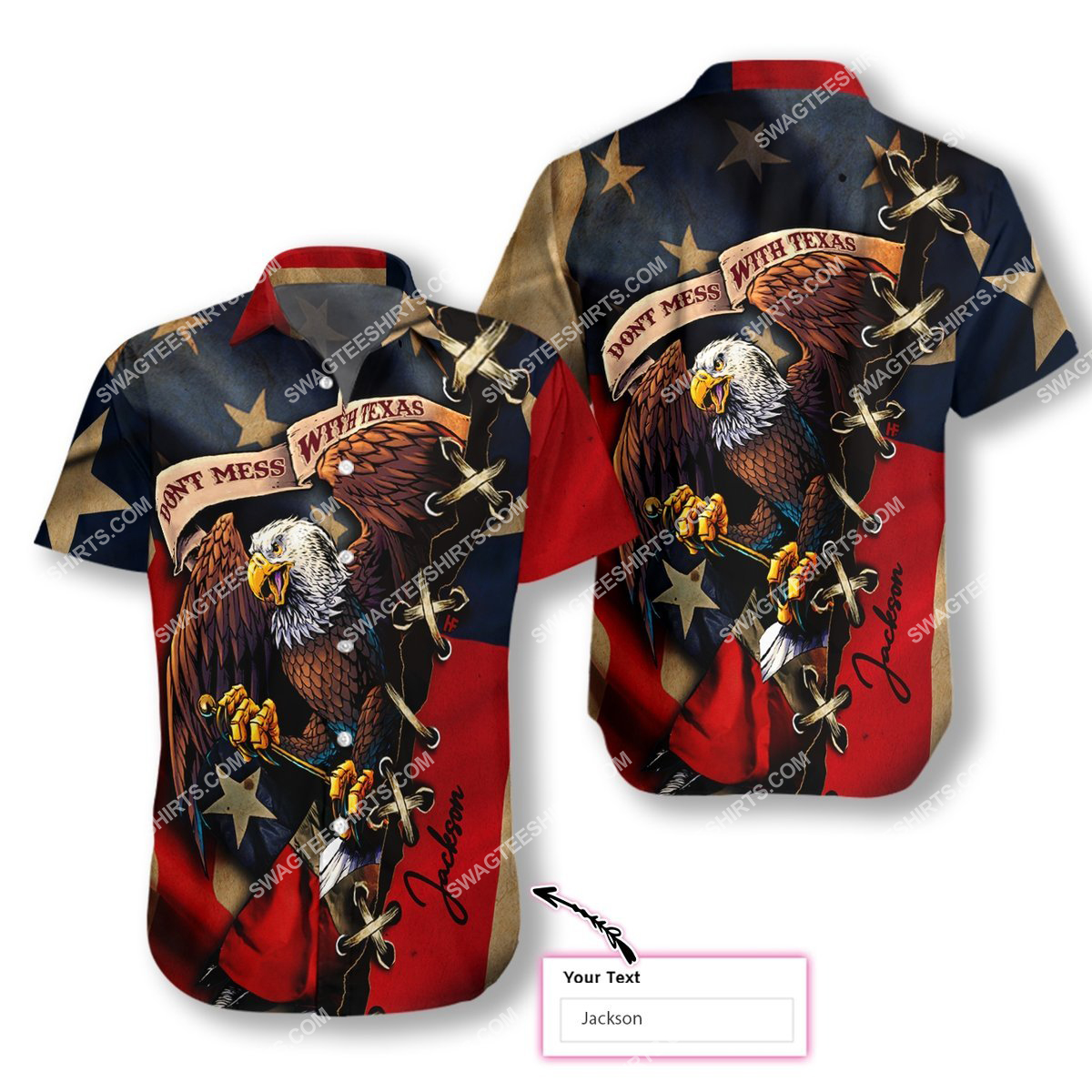 custom name eagle american flag dont mess with texas all over printed hawaiian shirt 1(1)