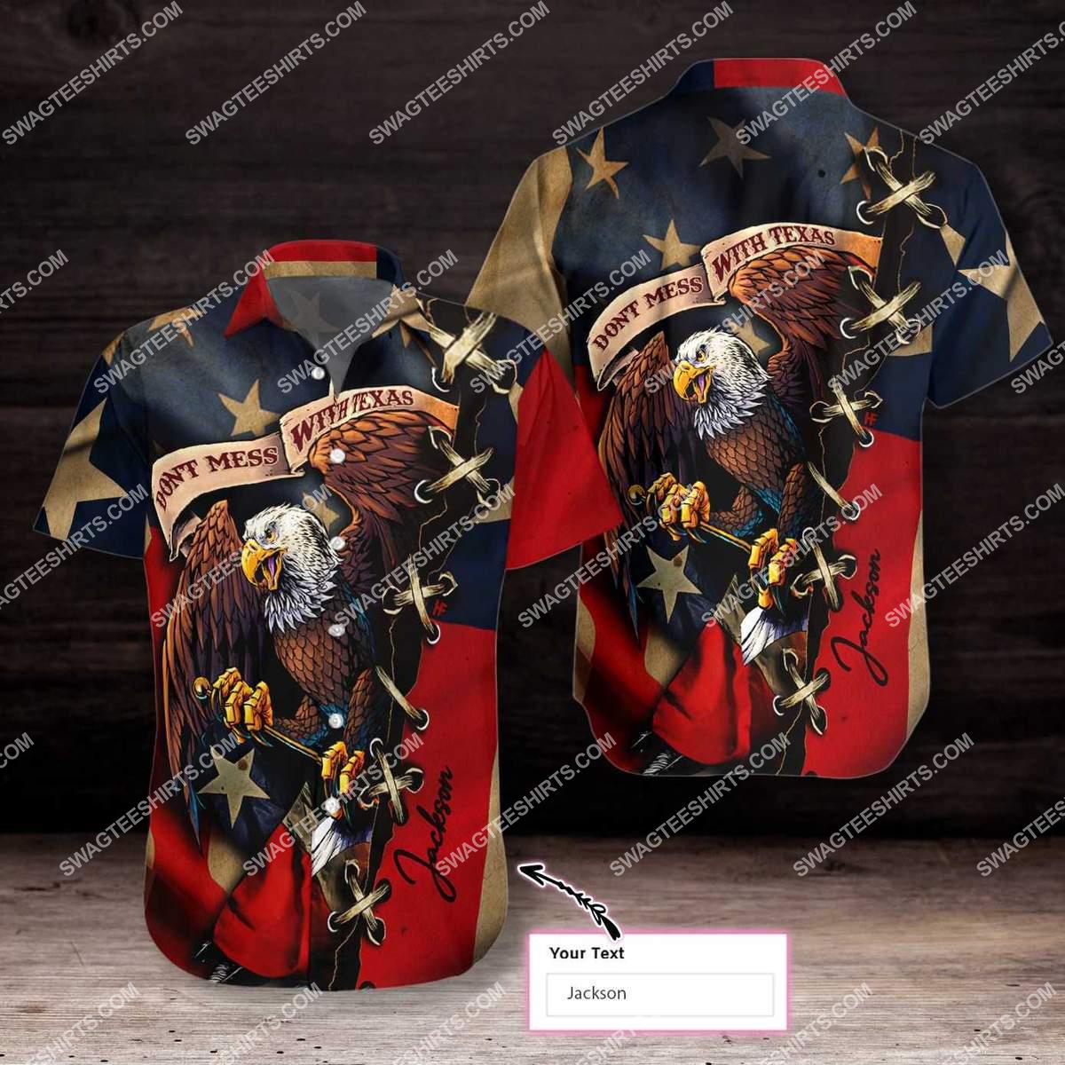 custom name eagle american flag dont mess with texas all over printed hawaiian shirt 2(1)